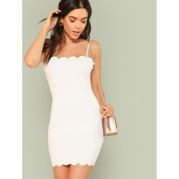 Form Fitting Scalloped Cami Dress White
