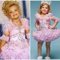 Fantasias Eden Wood Baby Toddler Pageant Dresses For Girls Glitz Rhinestones Ball Gown Pink Feathered Kids Party Dresses 2016