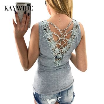 DICLOUD 2017 Summer Women Tops Series Casual Solid Tee Lace back Patchwork Tanks Tops For Women A17408