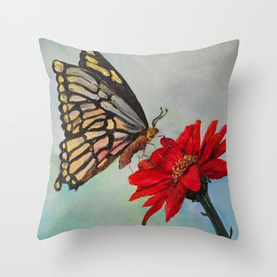 Swallowtail and Gerbera Square Throw Pillow by Rokin Art by RokinRonda