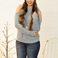*  Tyra Kint Cold Shoulder Sweater : Winter Blue
