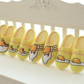 Cartoon Plush Animals Soft Gudetama Lazy Egg Yellow Stuffed Indoor Bedroom Couple Slippers Shoes Winter Keep Warm Flip Flop Doll