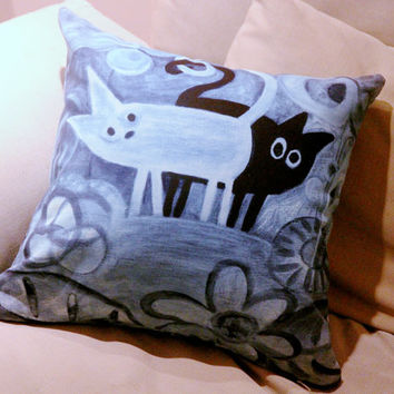 cats in blue throw pillow cover 16x16