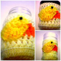Yellow and Oragne Stripe Little Baby Chic Chicken  Ice Cream Cup Cozy Mason Jar Cozy