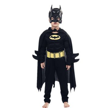 Cool Kids Boys Muscle Batman Costumes with Mask Cloak Movie Character Superhero Cosplay Halloween Masquerade Party Superman Role PlayAT_93_12