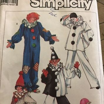 Simplicity 7649 Costume Sewing Pattern Harlequin Clown Size Small Adult 32-34