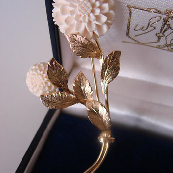 SALE 1940s Vintage Hand Carved Bone Floral 12Kt Gold Filled Brooch * Designer Signed * Vintage Jewelry * Jewellery