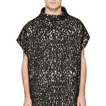 Paul Smith Black And White Mohair Music Night Poncho