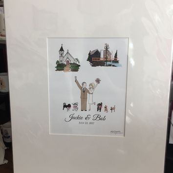 Wedding Guest Book Alternative with Couple Illustration and 2 Location Illustrations