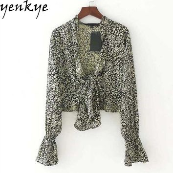 Fashion Women Summer Crop Top Sexy V Neck Long Sleeve Hem Knotted Floral Blouse Women Tops