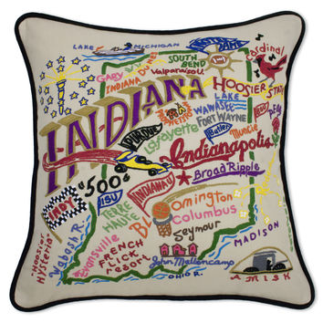 Indiana Hand Embroidered Pillow