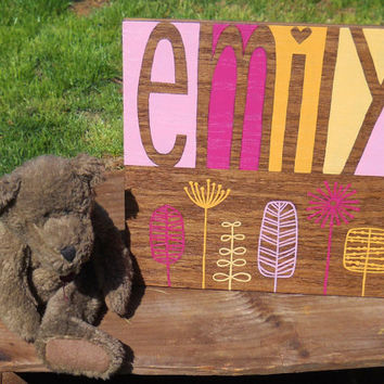 Personalized name sign, Nursery decor, Custom wall art, Baby name sign, Painted sign, Shower gift, Personalized art, Baby girl