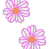 DAISY: WHITE AND YELLOW WITH PINK FLOWER NIPPLE PASTIES