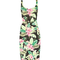 Black Neon Tropical Print Cut Out Sleeveless Mini Dress