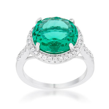 Emie Aqua Green Round Halo Classic Cocktail Ring | 8.5 Carat | Cubic Zirconia