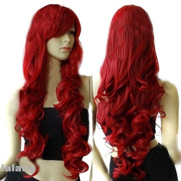 "Women's 32"" Long Heat Resistant Big Spiral Curl Wine Red Cosplay Wigs 80cm New W = 5979062401"