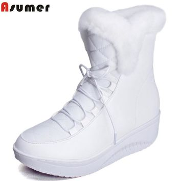 Asumer  Shoes Women Boots Solid Slip-On Soft Cute Women Snow Boots Round Toe Flat with Winter Fur Ankle Boots