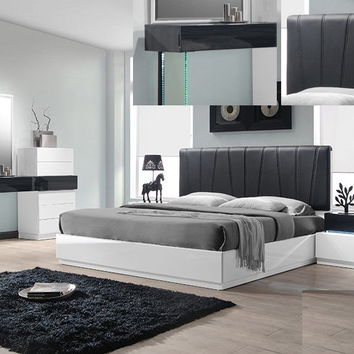 Best Master Ireland-Q 4 pc ireland collection gray and white lacquer finish wood modern style queen bed set with padded headboard