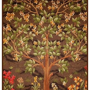 Flowering Tree in Greens and Browns by William Morris Counted Cross Stitch or Counted Needlepoint Pattern