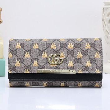 GUCCI Bee Women Fashion Embroidery Leather Buckle Wallet Purse