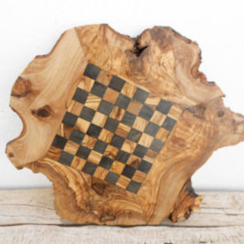 Chess Set Natural Edges Olive Wood Rustic Chess Board, Dad gift, Gift for Him, Christmas Gift