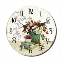 LE JARDIN Wall Clock Shabby Chic Style 13.50x13.50 Inches - White Pattern - Unique Wall Clock - Shabby Chic Home Decor