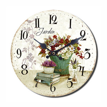 Le jardin wall clock shabby chic style from homeguru on etsy for Decoration jardin shabby