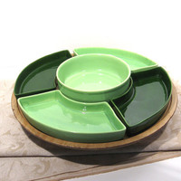 Vintage Lazy Susan Tray Condiment Dish Lime Green Serving