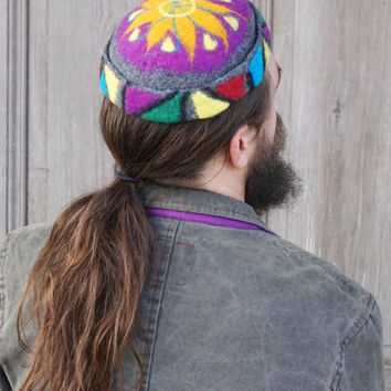 Hand felted skullcap, small round cap, colorful beanie, ethno fashion, felt hat for men or woman, bohemian oriental chic, tubeteika, OOAK