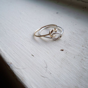 Interlocked Friendship Knot Stacking Ring - Gold fill and Sterling Silver Customized ring