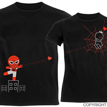 Captured By Your Love™His & Hers Matching Couple Shirt Set,Cute Gifts for Boyfriend,Spiderman,Superhero,Valentines Day,Christmas,Anniversary