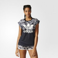 """Adidas"" Women Multicolor Flower Clover Letter Print Short Sleeve T-shirt Tops"