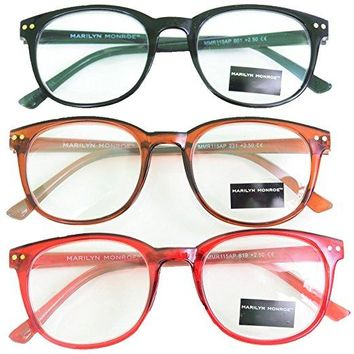 Marilyn Monroe Red Black Brown Reading Glasses 3 Pack Readers