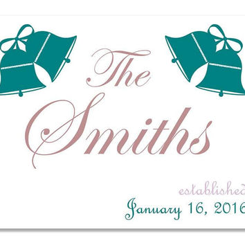 Personalized Family Established with Wedding Bells Print Wall Art
