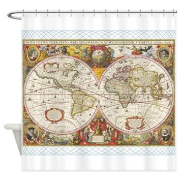 Antique World Map Shower Curtain> Antique World Map> Funny Gifts Ideas