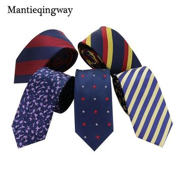 Mantieqingway Men's College Ties for Suits Polyester Striped Necktie Ties Gravata for Mens Gold and Navy Blue Neck Ties