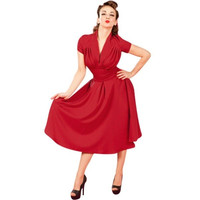 Women's Deep-V Neck Elegant Cap Sleeve Vintage Bridesmaid Dress = 1958368452