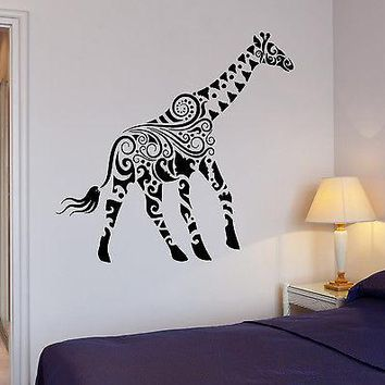 Wall Sticker Giraffe African Animals Kids Room Art Mural Vinyl Decal Unique Gift (ig1919)