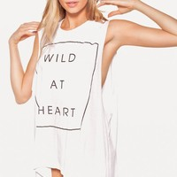 WILDEST HEART MUSCLE TANK at Wildfox Couture in  DIONNE, -CLEAN WHITE