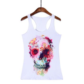 Summer Skull Skeleton 3D Printed Tank Top Women Sleeveless