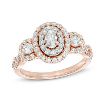 1 CT. T.W. Oval Diamond Frame Past Present Future® Three Stone Engagement Ring in 14K Rose Gold