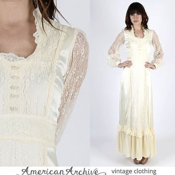 Gunne Sax Dress Gunne Sax Prairie Dress Boho Dress Lace Dress Hippie Dress Hippy Dress Lace Wedding Dress boho 70s Dress Renaissance Dress