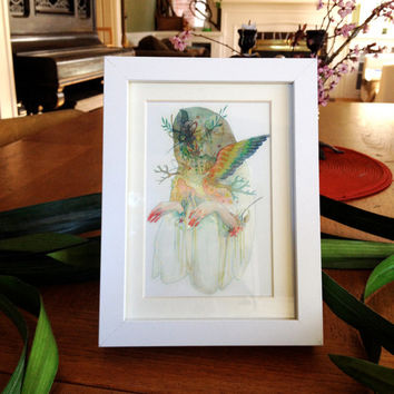 Framed White Witch Personalized Postcard - Original Illustration by Morgaine Faye - Framed Wall Art