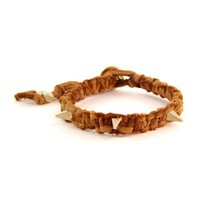 Honey Leather and Gold Pyramid Spike Bracelet