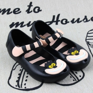 ALICE IN WONDERLAND MINIKHOO SHOES GIRLS SANDALS CHESHIRE CAT SMILE CAT SANDALS BEACH SANDALS HIGH QUALITY