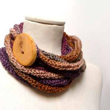Loop Infinity Scarf Necklace, Knitted Scarlette Neckwarmer - Brown, Beige, Purple, Mauve ombre yarn with giant wood button - Handmade
