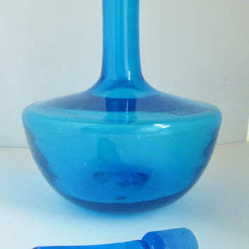 Vintage BLENKO GLASS Decanter 6615s in Turquoise