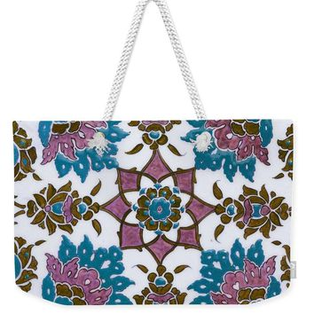 An Ottoman Iznik Style Floral Design Pottery Polychrome, By Adam Asar, No 13h - Weekender Tote Bag