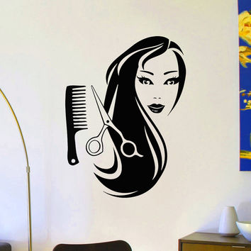 Wall Decals Beauty Salon Hair Spa Fashion Girl Woman Face Haircut Scissors Decal Vinyl Sticker Barbershop Salon Wall Decor Art Mural Z804