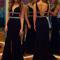 Long Black Prom Dresses Black Evening Dress